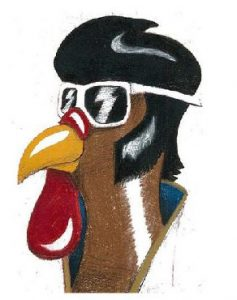 Vegas Turkey Trot Logo - Elvis Chicken Head Illustration